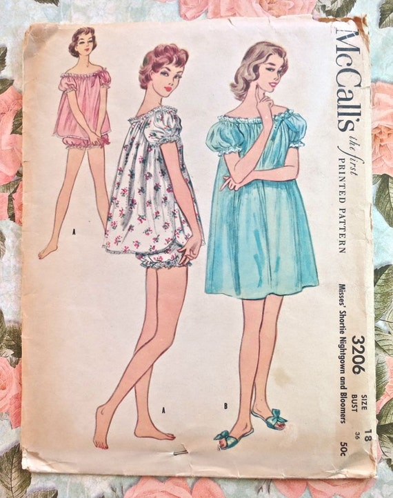 Vintage 1950s Womens Babydoll Nightie and Nightgown with Bloomers Pattern - McCalls 3206