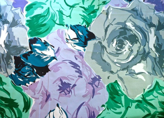 Vintage Midori Cotton Fabric with Blue, Purple,Teal and Gray Watercolor Flowers - RESERVED for Lucy O'Shea