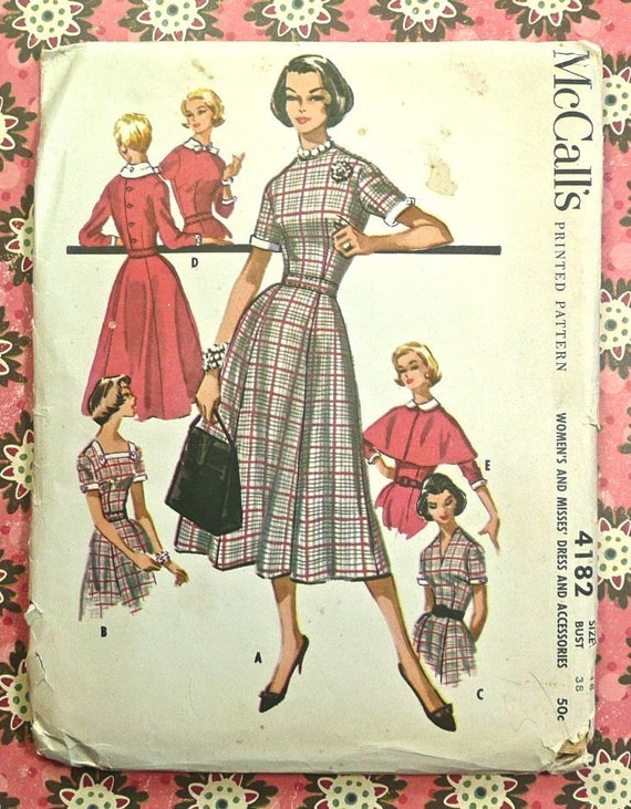 Vintage 1950s Womens Dress with Bodice Variations and Cape Pattern - McCalls 4182