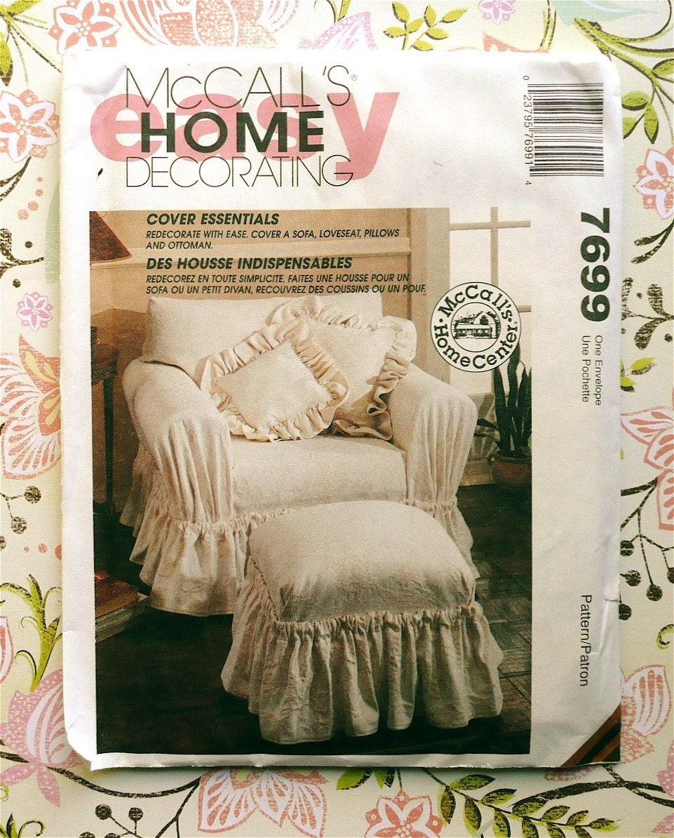Mccall 39 S 7699 Slipcover Pattern For Sofa Chair Pillow