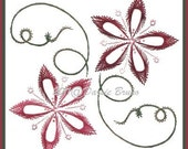 Floral Hibiscus Flower Embroidery Pattern for Greeting Cards