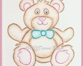 Teddy Bear Embroidery Pattern for Greeting Cards