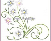 Spring Flowers and Vines Embroidery Pattern for Greeting Cards