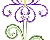Deco Iris Flower Floral  Paper Embroidery Pattern for Greeting Cards