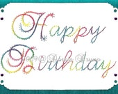 Happy Birthday Script Paper Embroidery Pattern for Greeting Cards