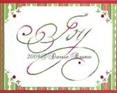 Christmas Joy Paper Embroidery Pattern for Greeting Cards