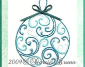 Christmas Ornament Paper Embroidery Pattern for Greeting Cards