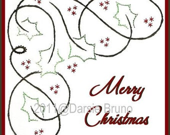 Holly Corner Christmas Paper Embroidery Pattern for Greeting Cards