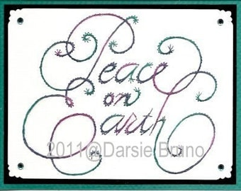 Peace on Earth Christmas Script Paper Embroidery Pattern for Greeting Cards