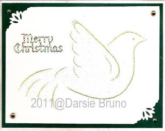 Christmas TurtleDove Paper Embroidery Pattern for Greeting Cards