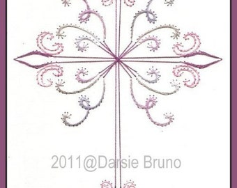 Easter Curly Cross Paper Embroidery Pattern for Greeting Cards