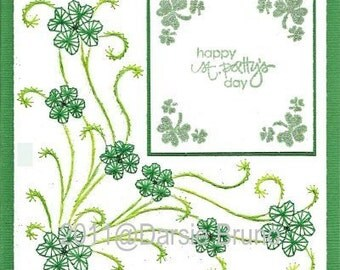 Luck of the Irish St. Patrick's Day Paper Embroidery Pattern for Greeting Cards