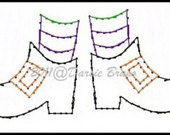 Halloween Witches Feet Embroidery Pattern for Greeting Cards