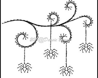 Halloween Spiders Embroidery Pattern for Greeting Cards