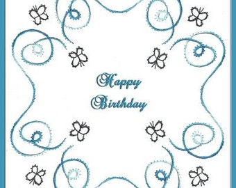 Butterfly Flight Embroidery Pattern for Greeting Cards