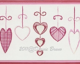 Hearts of Love Valentine Embroidery Pattern for Greeting Cards