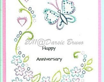 Floral Butterfly Embroidery Pattern for Greeting Cards