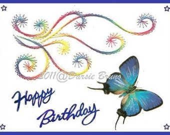Swirly Birthday Embroidery Pattern for Greeting Cards
