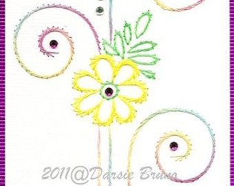 Decorative Swirls Floral Embroidery Pattern for Greeting Cards