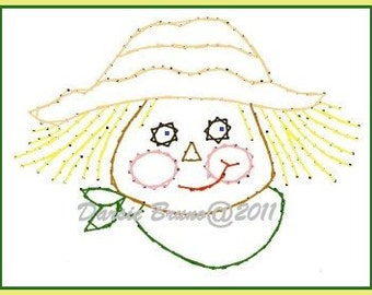 Thanksgiving Harvest Scarecrow Embroidery Pattern for Greeting Cards