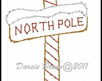 North Pole Santa Christmas  Embroidery Pattern for Greeting Cards