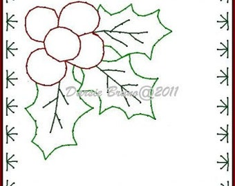 Holly Leaves Frame Christmas  Embroidery Pattern for Greeting Cards