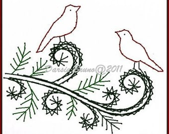 Winter Songbirds Christmas  Embroidery Pattern for Greeting Cards