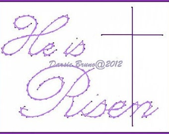 He is Risen Cross Easter Embroidery Pattern for Greeting Cards