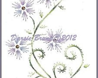 Spring Floral Daisy Vine Embroidery Pattern for Greeting Cards
