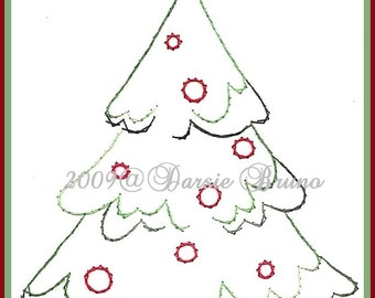 Snowy Christmas Tree Paper Embroidery Pattern for Greeting Cards