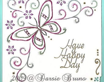 Butterfly Scroll Paper Embroidery Pattern for Greeting Cards