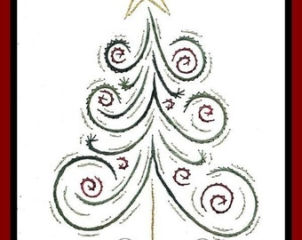 Christmas Tree with Swirls Paper Embroidery Pattern for Greeting Cards