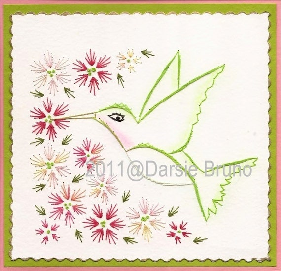 Pretty Hummingbird Floral Paper Embroidery Pattern for Greeting Cards