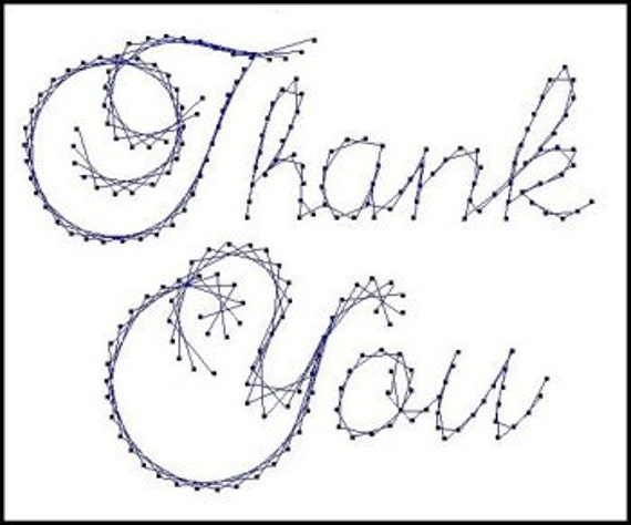 Thank you sentiment paper embroidery pattern for greeting for Paper pricking templates