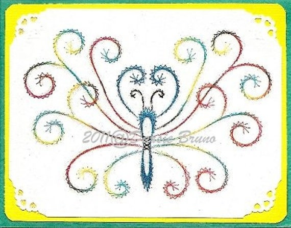 Butterfly Butterflies Embroidery Pattern for Greeting Cards