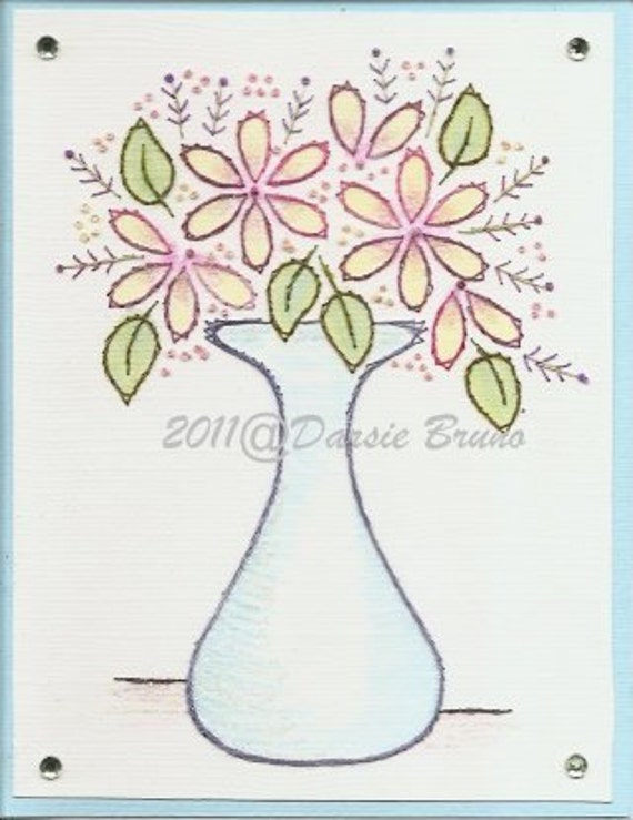 Floral Flower Vase Embroidery Pattern for Greeting Cards