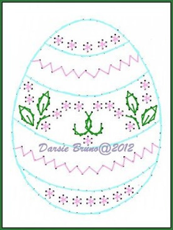 Fancy Floral Egg Easter  Embroidery Pattern for Greeting Cards