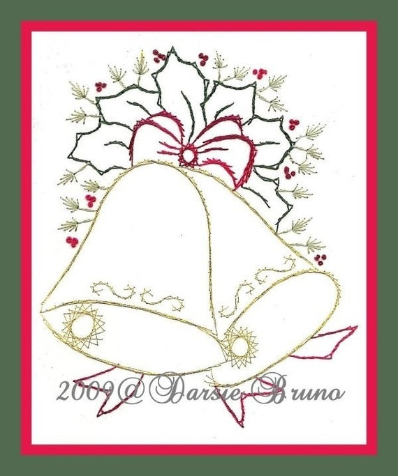Christmas bells and holly paper embroidery pattern for