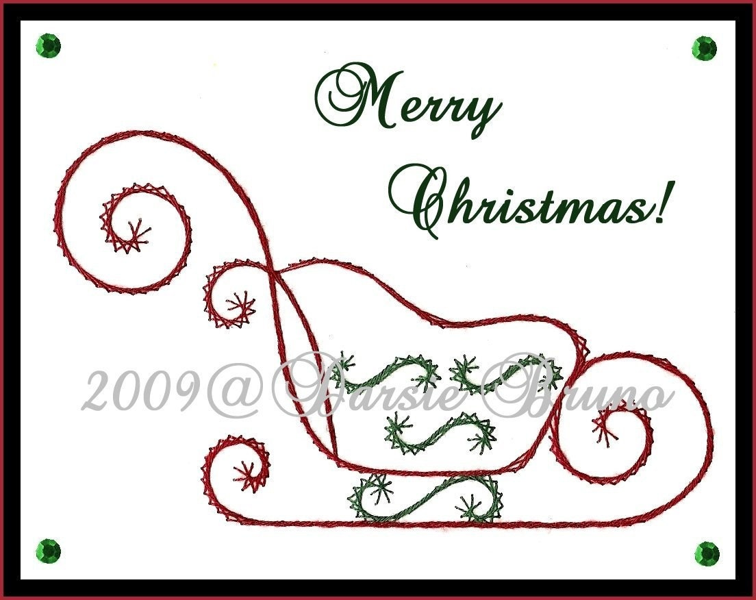 Santa s sleigh christmas paper embroidery pattern for