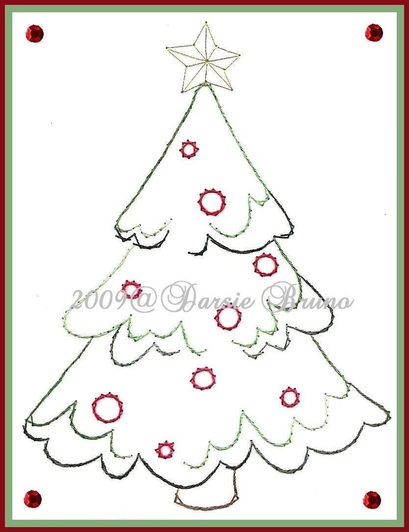 Snowy christmas tree paper embroidery pattern for greeting