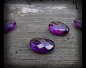 Amethyst Quartz Glass Faceted Ovals