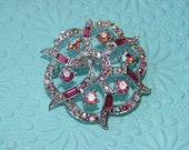 Vintage Coro Pink Rhinestone Brooch