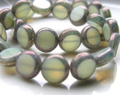 Milky Grey and Silver 10mm Window Coin Czech Glass beads  15