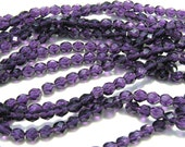 Tanzanite Purple 6mm Fire Polish Faceted Round Czech Glass Beads   25