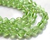 Peridot Green Spiral 8mm Crystal Beads   10