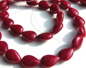 Deep Red Jade Smooth Teardrop Long Drilled Beads    4