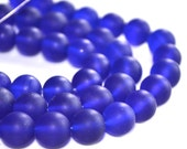 Cobalt Blue 10mm Frosted Round Glass Beads  8 inch strand