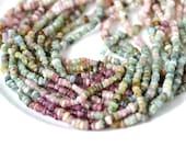 Organic Tourmaline Heishi Rondelle Beads  FULL STRAND