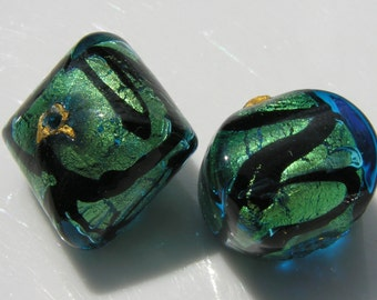 Turquoise and Black Pillow Focal Venetian Glass Bead  ONE