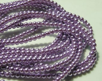 Lavender Glass Pearl 4mm Round Beads  FULL STRAND